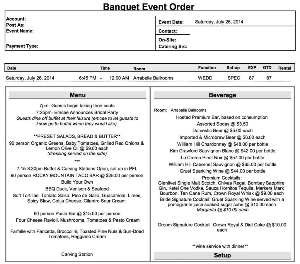 Banquet event order Template What is A Beo