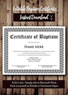 Baptism Certificate Template Word Printable Water Baptism Certificates