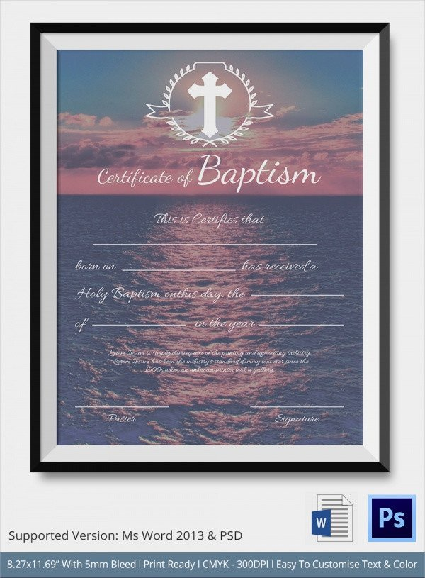 Baptism Certificate Template Word Sample Baptism Certificate 20 Documents In Pdf Word Psd