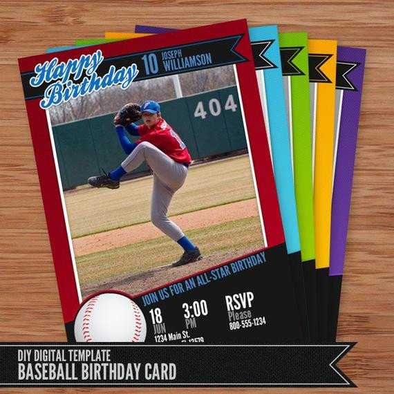 Baseball Card Template Free Baseball Card Birthday Invitation 5x7 Shop Template for