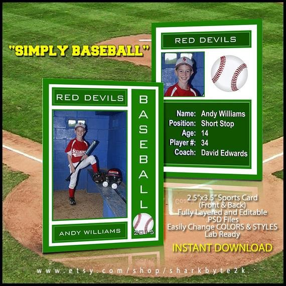 Baseball Card Template Word 2017 Baseball Sports Trader Card Template for Shop Simply