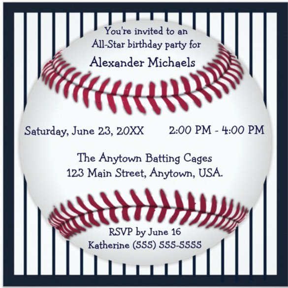 Baseball Invitation Template Free 17 Baseball Birthday Invitations Psd Vector Eps Ai