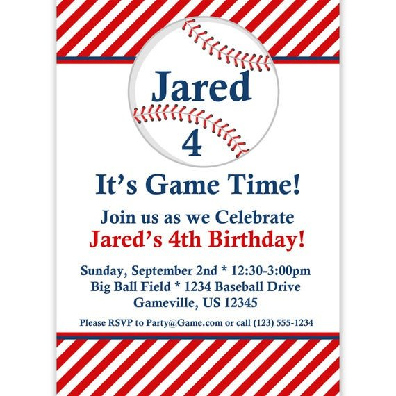 Baseball Invitation Template Free Baseball Invitation Red Striped Baseball Ball Personalized