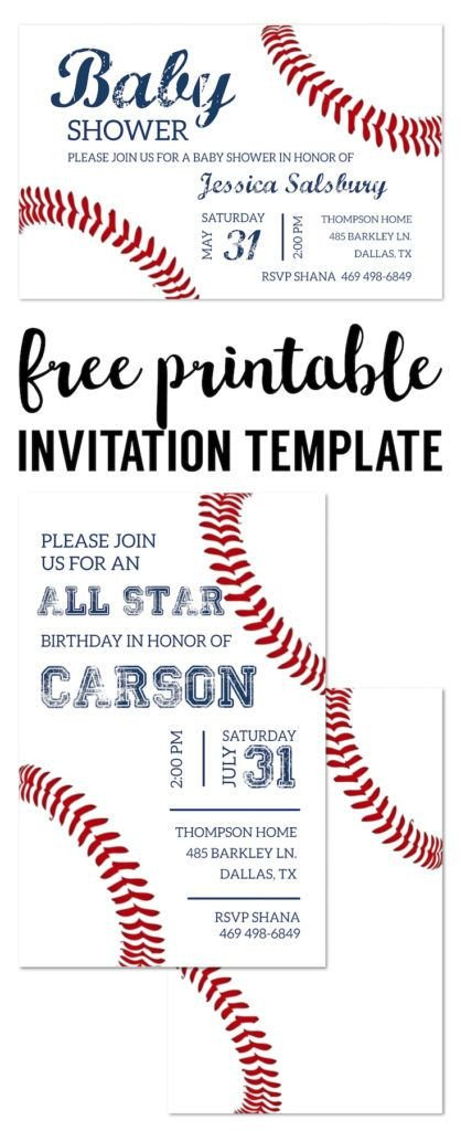 Baseball Invitation Template Free Baseball Party Invitations Free Printable
