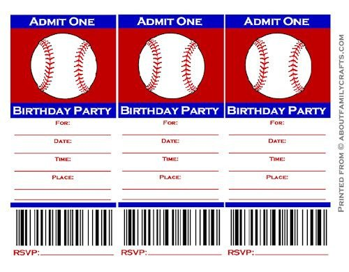 Baseball Invitation Template Free Baseball Ticket Birthday Party Invitation – About Family