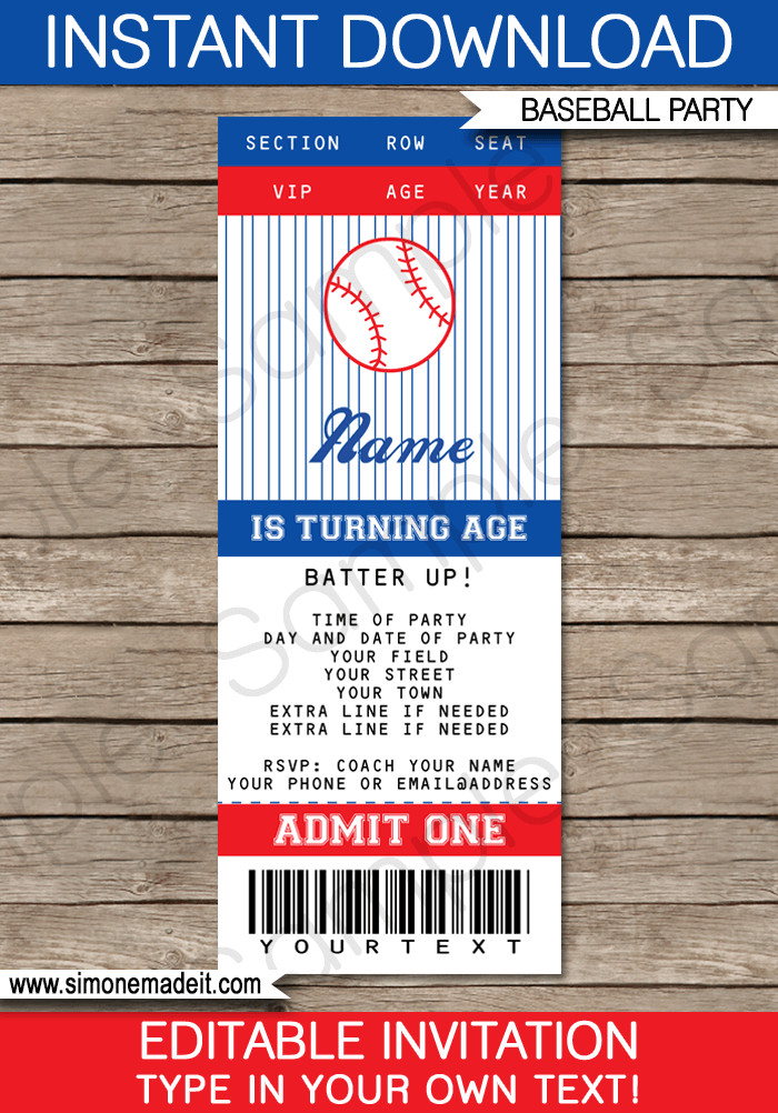 Baseball Invitation Template Free Baseball Ticket Invitation Template
