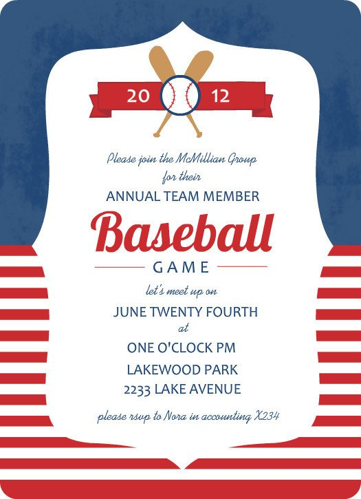 Baseball Invitation Template Free Blue and Red Striped Baseball Game Invitation Template