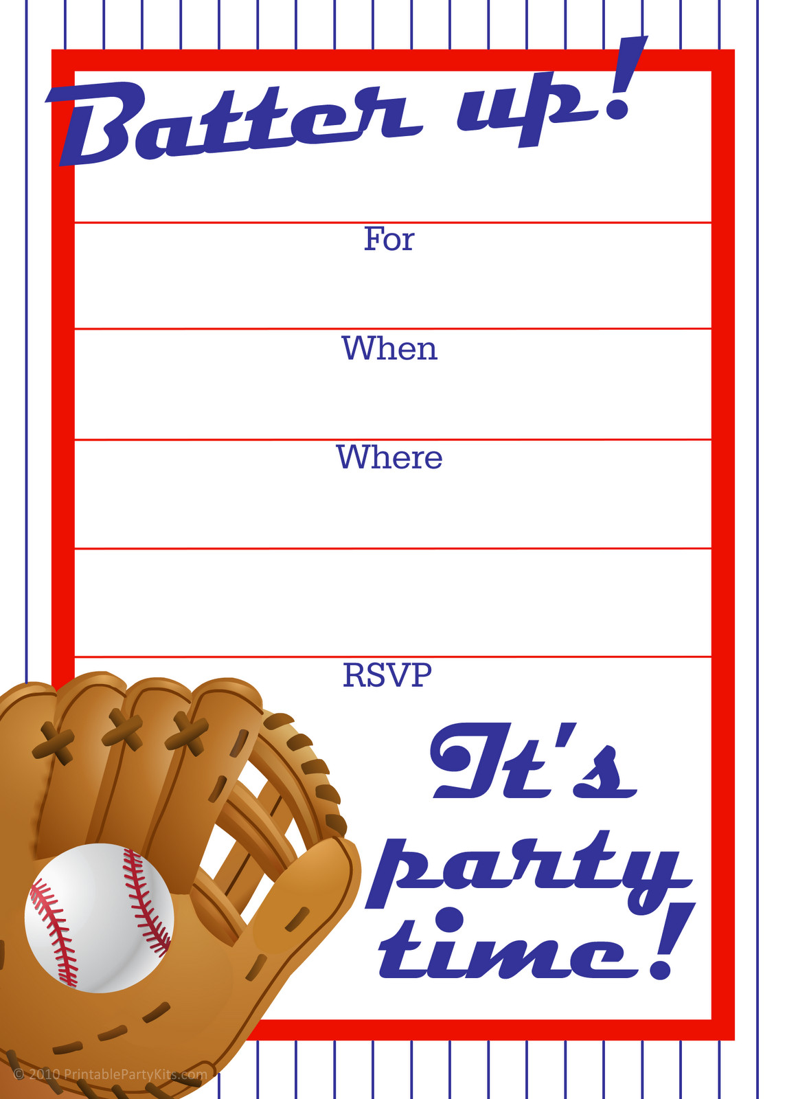 Baseball Invitation Template Free Free Printable Party Invitations Free Baseball Birthday