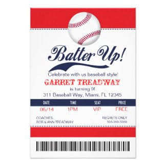 Baseball Invitation Template Free Lgc Batter Up Baseball Ticket 2nd Version Invite