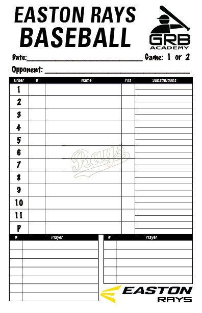 Baseball Line Up Card Items Similar to Baseball Team Lineup Card On Etsy