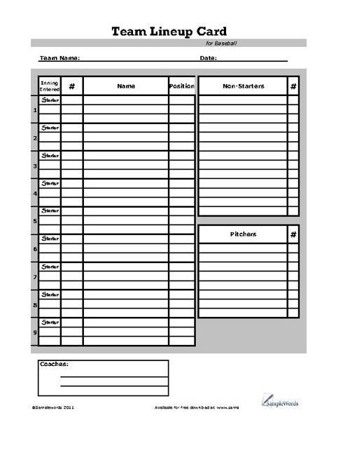 Baseball Lineup Card Template Baseball Lineup Card Sports