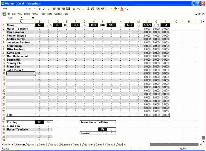 Baseball Stat Excel Template 10 Statistics Template Excel Exceltemplates Exceltemplates