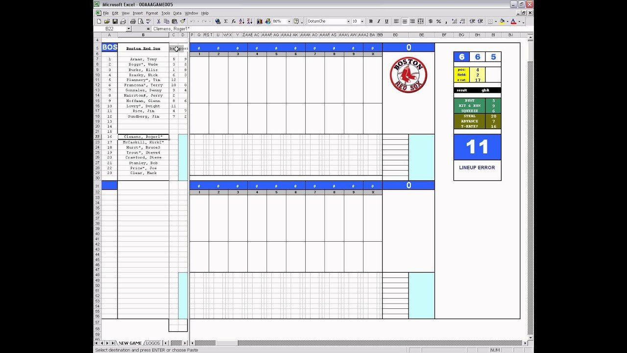 Baseball Stat Excel Template Pt1 Of 8 Strat O Matic Baseball Excel Game Player and