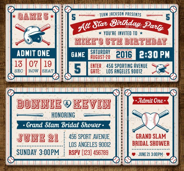 Baseball Ticket Invitation Template Free 31 Party Invitations Free Psd Ai Eps Vector format