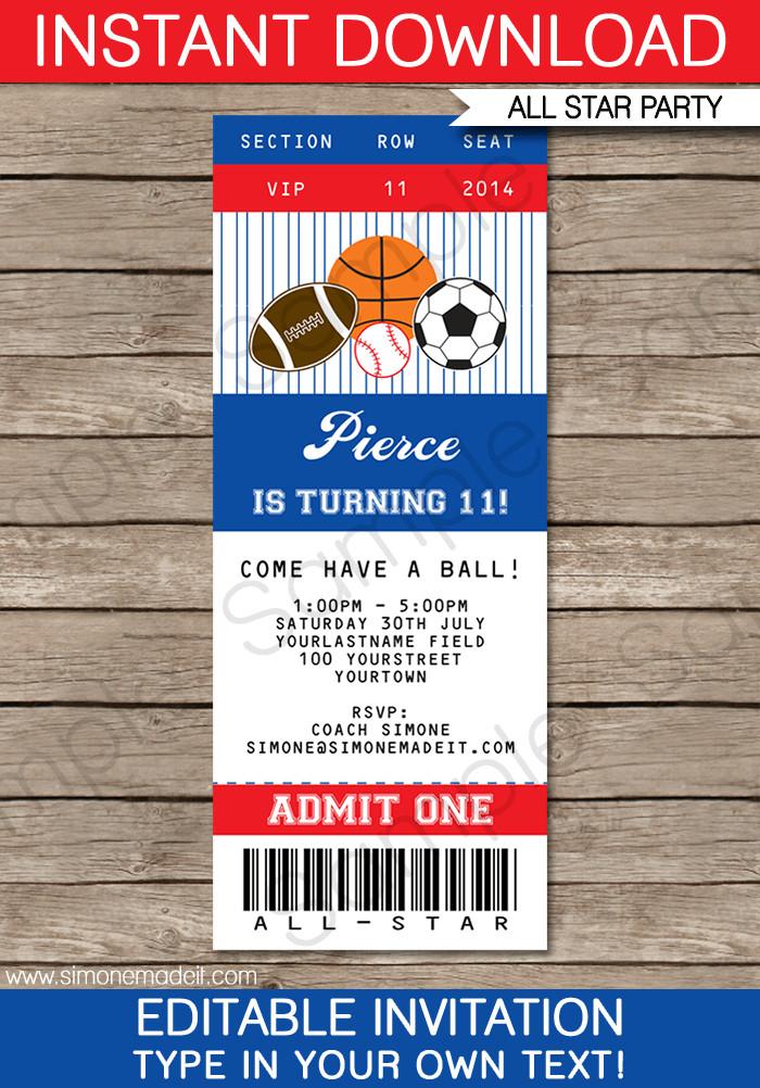 Baseball Ticket Invitation Template Free All Star Sports Ticket Invitations
