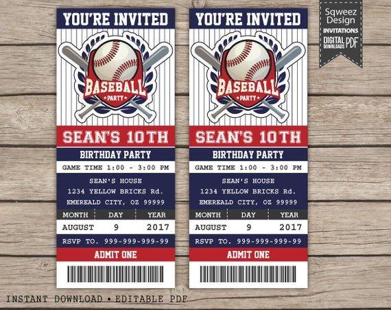 Baseball Ticket Invitation Template Free Baseball Birthday Invitation Baseball Ticket Invitation