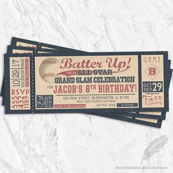 Baseball Ticket Invitation Template Free Baseball Birthday Invitations Baseball Tickets Stubs