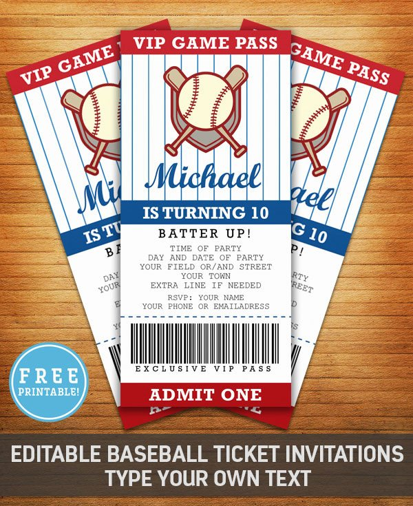 Baseball Ticket Invitation Template Free Baseball Birthday Party Invitation Free Printable M Gulin
