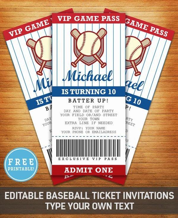 Baseball Ticket Invitation Template Free Baseball Birthday Party Invitation Free Printable