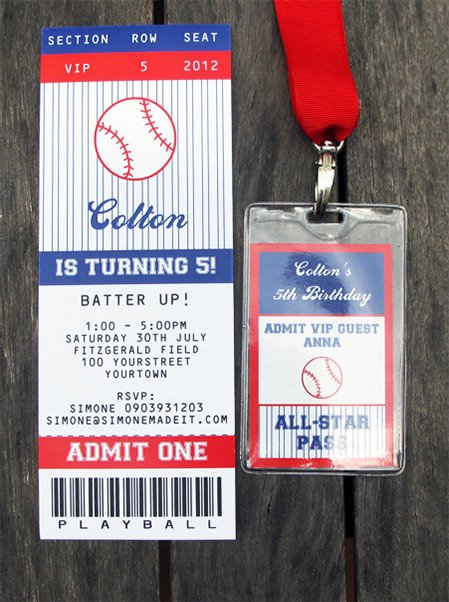 Baseball Ticket Invitation Template Free Baseball Birthday Party Invitations