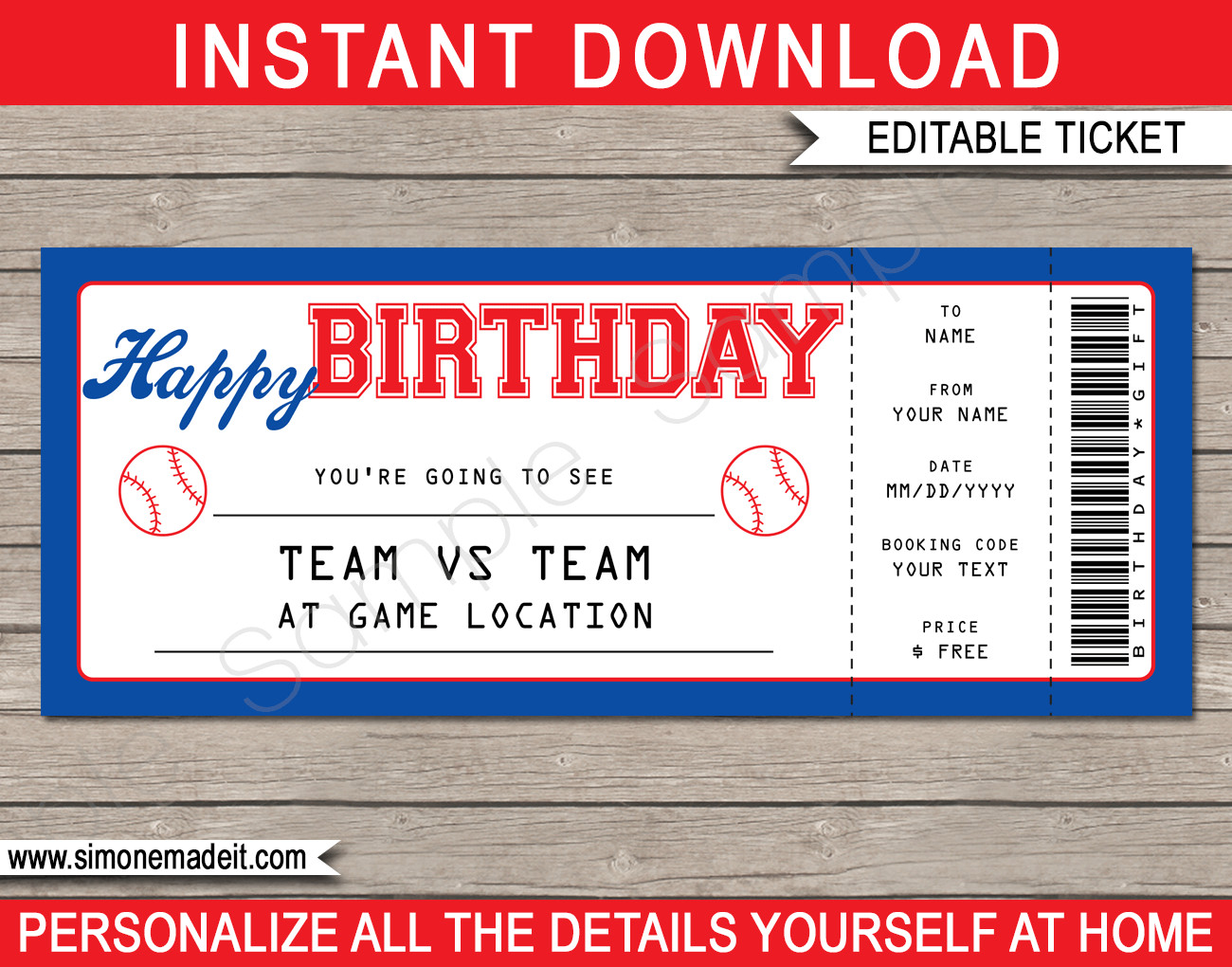 Baseball Ticket Invitation Template Free Baseball Game Birthday Gift Ticket