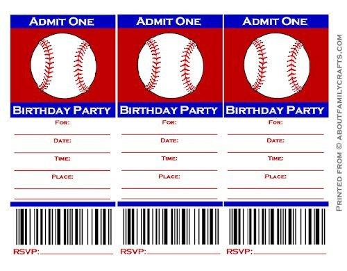 Baseball Ticket Invitation Template Free Baseball Ticket Birthday Party Invitation – About Family