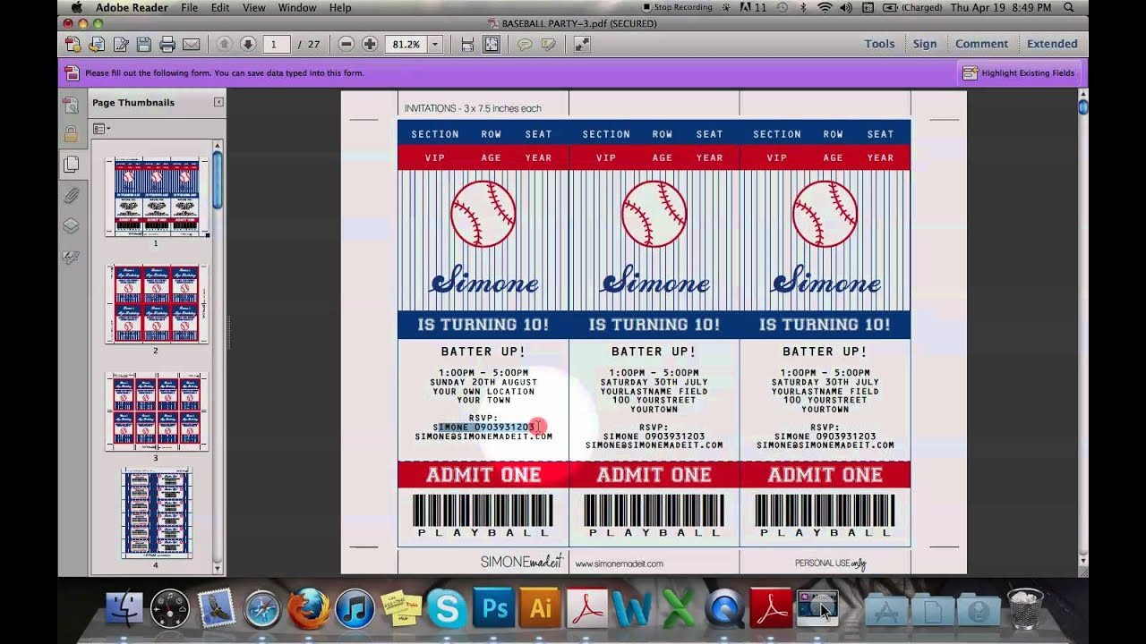 Baseball Ticket Invitation Template Free Baseball Ticket Invitation