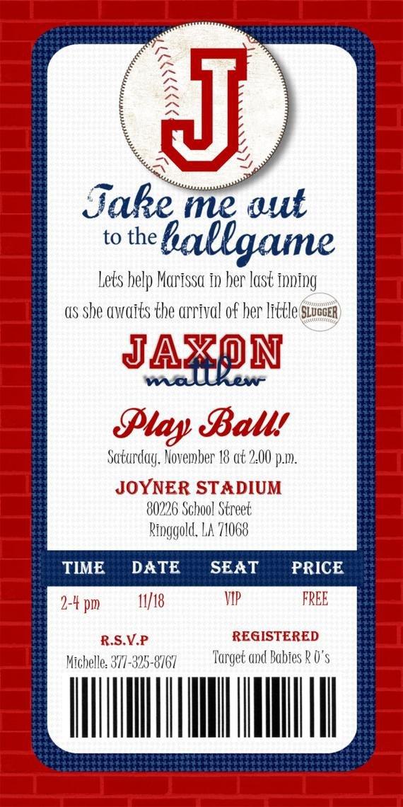 Baseball Ticket Invitation Template Free Custom Printable Baseball Ticket Invitation by Joyinvitations