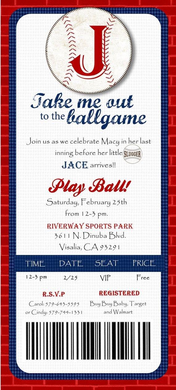 Baseball Ticket Invitation Template Free Custom Printed Baseball Ticket Shower or by Joyinvitations