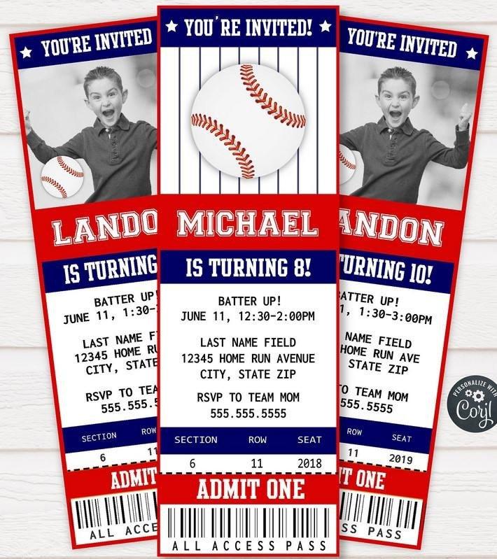 Baseball Ticket Invitation Template Free Free Printable Baseball Ticket Invitation Template