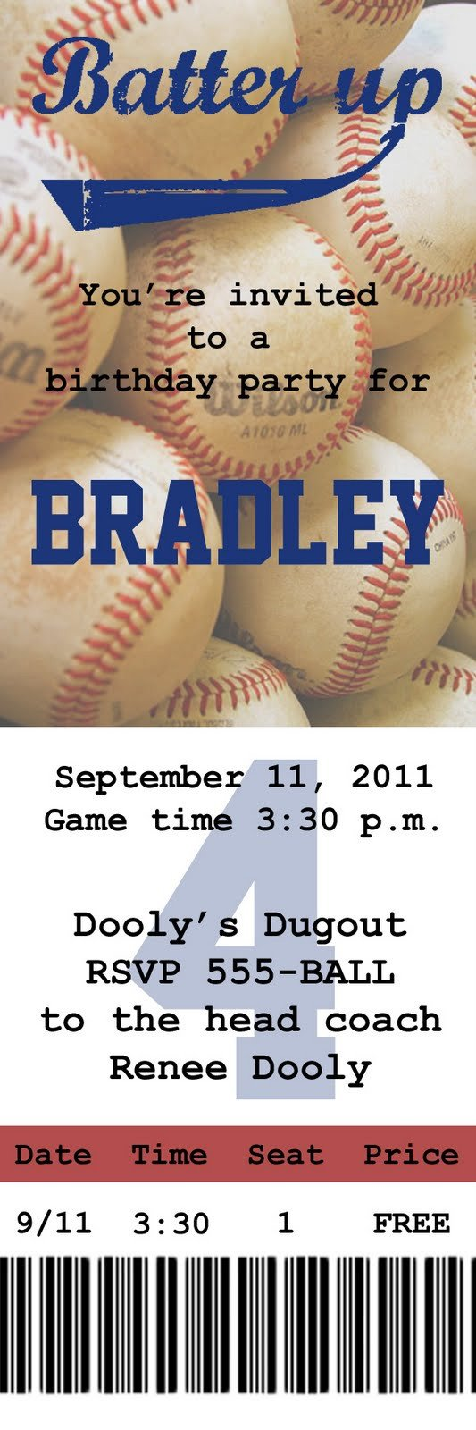 Baseball Ticket Invitation Template Free Gobs Of Giggles Baseball Party Invite
