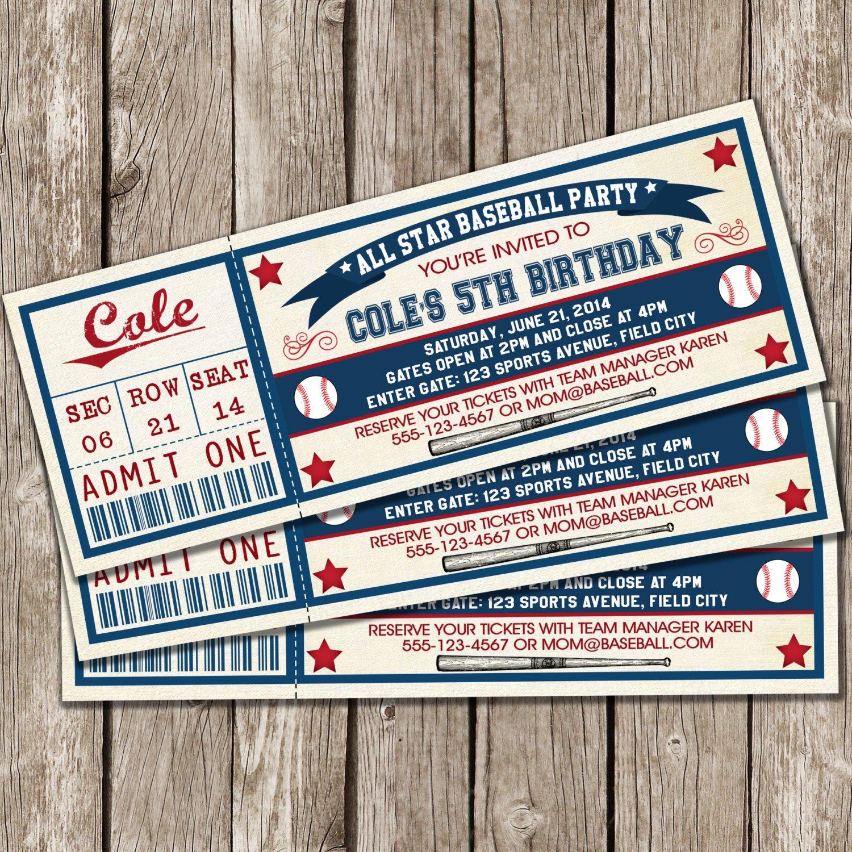 Baseball Ticket Invitation Template Free Vintage Baseball Ticket Invitation Baseball Birthday Party