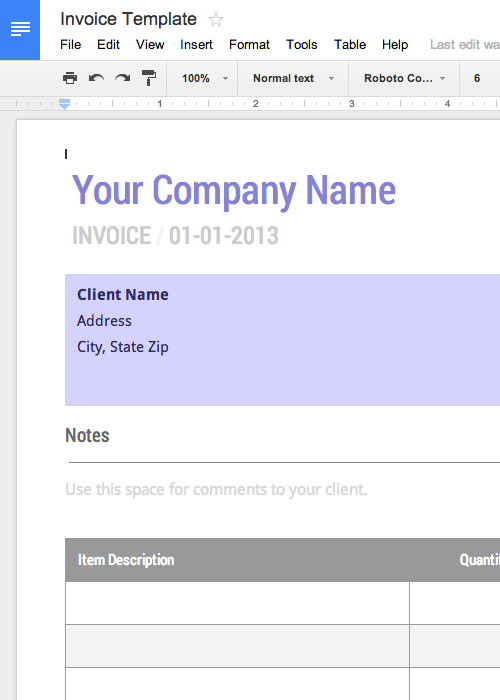 Basic Invoice Template Google Docs Blank Invoice Template Free for Google Docs