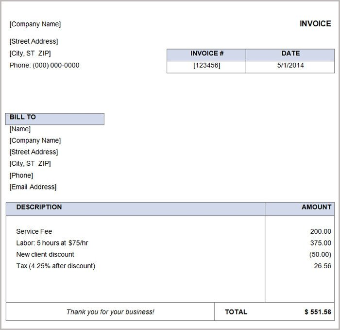 Basic Invoice Template Word 16 Free Basic Invoice Templates