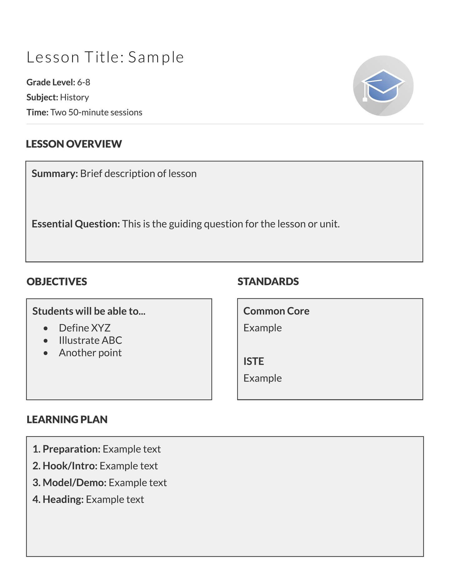 Basic Lesson Plan Template 5 Free Lesson Plan Templates & Examples Lucidpress