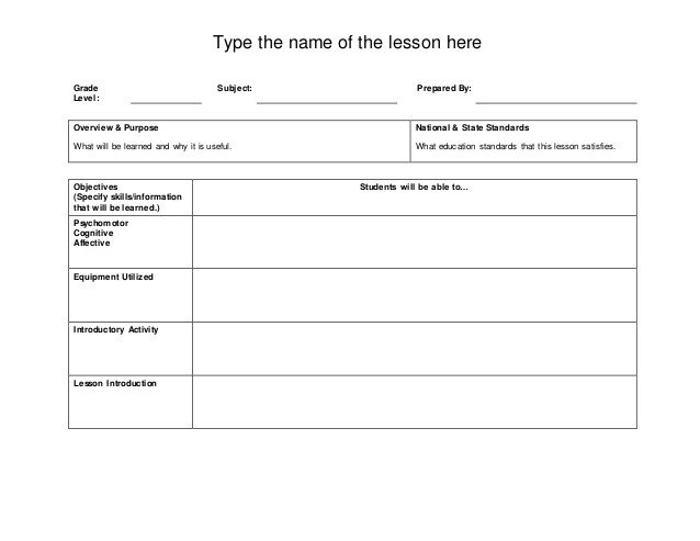 Basic Lesson Plan Template Basic Lesson Plan Template