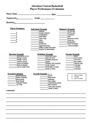 Basketball Player Evaluation form Basketball Tryout Quotes Quotesgram