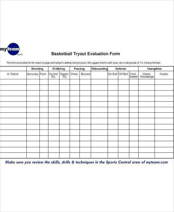 Basketball Player Evaluation form Sample Basketball Evaluation form 10 Examples In Word Pdf