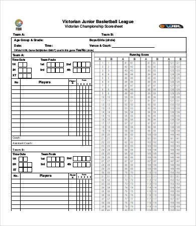 Basketball Stat Sheet Excel 15 Printable Basketball Scoresheet