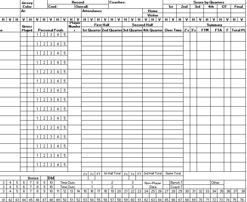 Basketball Stat Sheet Excel 8 Free Sample Basketball Score Sheet Samples Printable