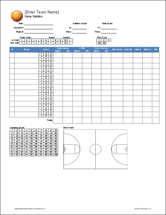 Basketball Stat Sheet Excel Basketball Team Roster Template for Excel