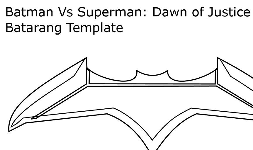 Batarang Template Pdf Batarang Template form Batman Vs Superman Dawn Of by