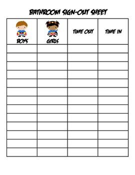 Bathroom Sign Out Sheet Superhero Bathroom Sign Out Sheet Super Hero by Three
