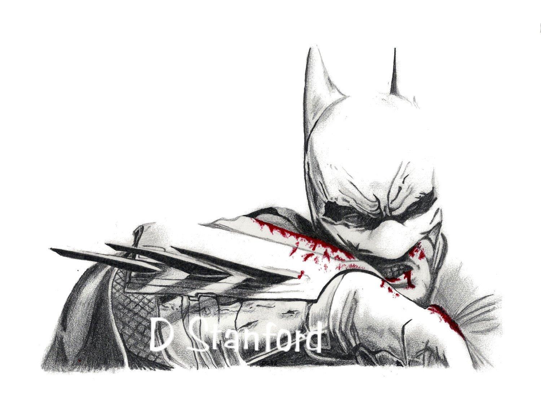 """Batman Drawing In Pencil Items Similar to Pencil Sketch """"even Batman Bleeds"""" Print"""
