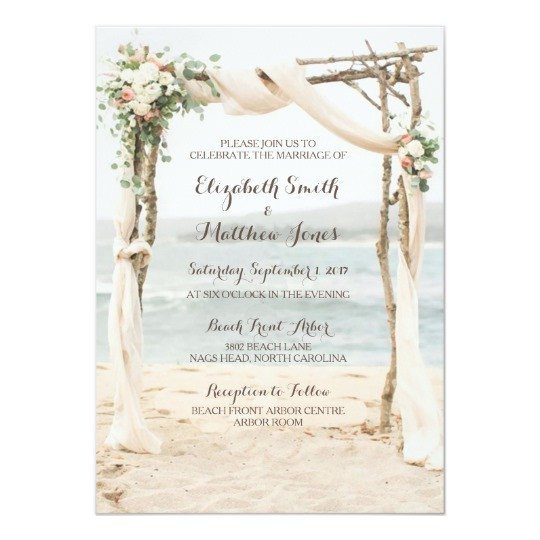 Beach Wedding Invitation Templates Beach Arbor Wedding Invitation
