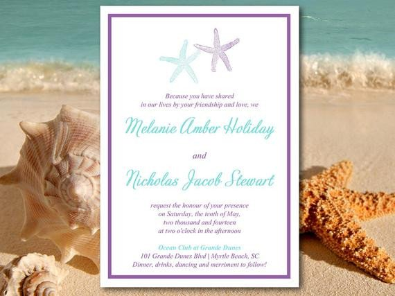 Beach Wedding Invitation Templates Beach Wedding Invitation Template Starfish Invitation