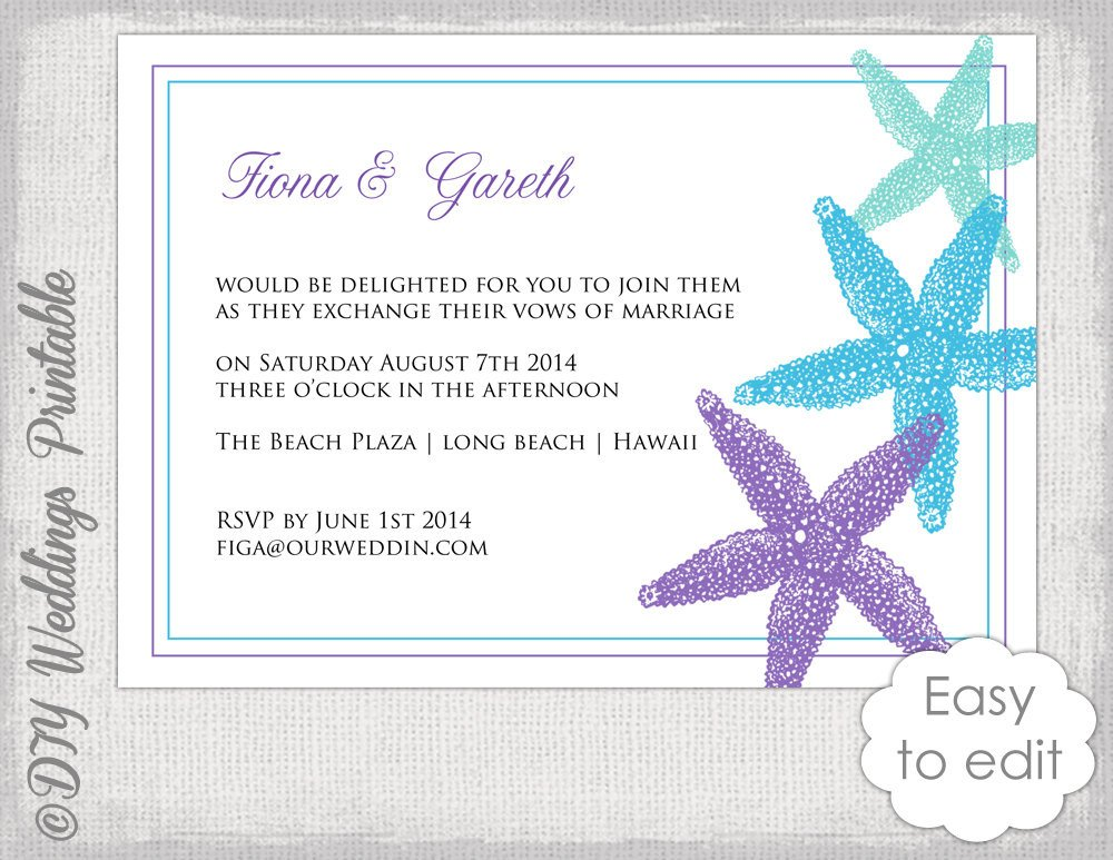 Beach Wedding Invitation Templates Beach Wedding Invitation Template Starfish