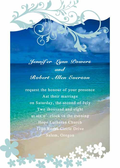 Beach Wedding Invitation Templates Modern Seaside Summer Beach Wedding Invitations Ewi038 as