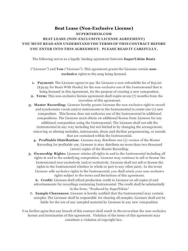 Beat Lease Contract Template Beat Lease Agreement 2016 by Tshim Pdf Archive