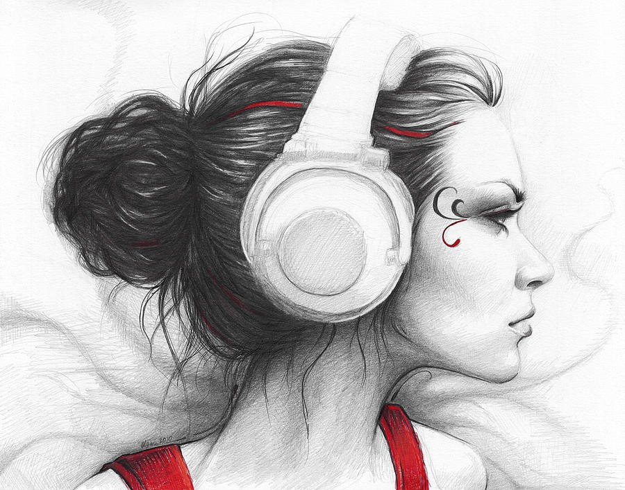 Beautiful Drawings Of Love I Love Music Drawing by Olga Shvartsur
